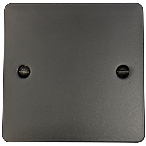 G&H FFB31 Flat Plate Matt Black 1 Gang Single Blank Plate